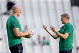 Ireland captain Paul O'Connell and head coach Joe Schmidt are deep in discussion after the squad's arrival at the stadium Credit: ©INPHO/Dan Sheridan