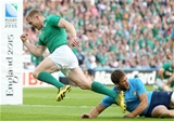 Keith Earls celebrates as he edges ahead of Brian O'Driscoll as Ireland's record RWC try scorer, with eight tries in eight tournament appearances Credit: ©INPHO/Dan Sheridan