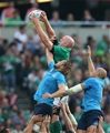 Paul O'Connell rises above Josh Furno and Sergio Parisse to claim a first half lineout Credit: ©INPHO/Billy Stickland