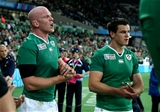 Ireland's Paul O'Connell and Jonathan Sexton clap the Italian players off the pitch Credit: ©INPHO/Dan Sheridan