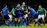 France's Mathieu Bastareaud is stopped in his tracks by Robbie Henshaw and Sean O'Brien Credit: ©INPHO/Jamies Crombie
