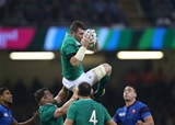 Peter O'Mahony is supported by Cian Healy as he gets up to win a restart kick Credit: ©INPHO/Billy Stickland