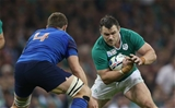 Loosehead Cian Healy looks to get past France second row Pascal Pape Credit: ©INPHO/Billy Stickland