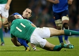 Winger Dave Kearney gets a tackle in on Scott Spedding, France's long range goal-kicker Credit: ©INPHO/Billy Stickland