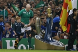 Ireland captain Paul O'Connell leads the team out past the Webb Ellis trophy Credit: ©INPHO/Billy Stickland