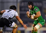 Connacht captain John Muldoon takes on Zebre flanker Jacopo Sarto at the Sportsground Credit: ©SPORTSFILE/Seb Daly
