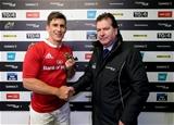 15-point out-half Ian Keatley receives the PRO12 man-of-the-match medal from Diageo's Declan Power Credit: ©INPHO/Ryan Byrne