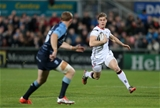 Ulster's experienced winger Andrew Trimble takes on the Cardiff during the early stages Credit: ©INPHO/Presseye/Darren Kidd