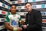 Bundee Aki is presented with his GUINNESS PRO12 man-of-the-match medal by Richard Griffiths, a Western Mail competition winner, on behalf of Diageo Credit: ©INPHO/Ian Cook