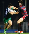 Tiernan O'Halloran, Connacht's try scorer on the night, attempts to break away from Edinburgh centre Chris Dean Credit: ©INPHO/James Crombie