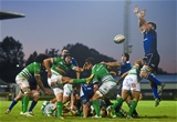 Benetton Treviso scrum half Edoardo Gori manages to clear under pressure from a leaping Jordi Murphy Credit: ©SPORTSFILE/Ramsey Cardy