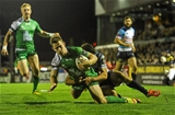 Matt Healy gets over for his try despite a tackle from Luke McLean, as Connacht move 33-12 clear on the scoreboard Credit: ©SPORTSFILE/Seb Daly