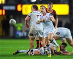 Ulster scrum half Paul Marshall fires a pass away from a ruck at Rodney Parade Credit: ©INPHO/Camerasport/Craig Thomas