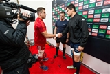 Munster captain CJ Stander shakes hands with his Treviso counterpart Alessandro Zanni at the coin toss Credit: ©INPHO/Cathal Noonan