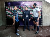 Enisei-STM captain Jurijs Baranovs and his Connacht counterpart John Muldoon are pictured with referee Sebastien Minery at the coin toss Credit: ©INPHO/James Crombie