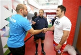 Ulster captain Rory Best is pictured at the coin toss with referee Romain Poite and Saracens skipper Brad Barritt Credit: ©INPHO/Morgan Treacy