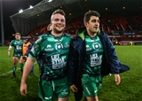 The smile says it all as Jack Carty celebrates with Tiernan O'Halloran after Connacht's hard-fought success at the home of Munster Rugby Credit: ©INPHO/James Crombie