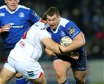 Leinster's Ireland-capped loosehead prop Jack McGrath is tackled by Ulster's South African tighthead Wiehahn Herbst Credit: ©INPHO/Billy Stickland