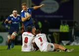 Leinster winger Luke Fitzgerald has his progress halted by Ulster forwards Nick Williams and Kyle McCall Credit: ©INPHO/Billy Stickland