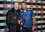 Leinster winger Luke Fitzgerald receives his GUINNESS PRO12 man-of-the-match award from Rory Sheridan of Diageo Credit: ©INPHO/Dan Sheridan