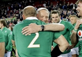 Ireland head coach Joe Schmidt and captain Rory Best hug each other after a job well done against the Springboks Credit: ©INPHO/Billy Stickland
