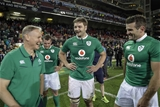 Ireland head coach Joe Schmidt has a laugh with Iain Henderson and Jared Payne on the pitch after the final whistle Credit: ©INPHO/Billy Stickland