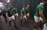 The Ireland players make the long way back to their dressing room at Emirates Airline Park Credit: ©INPHO/Billy Stickland