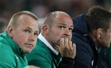 Luke Marshall and Rory Best, sitting on the Ireland bench, watch a replay on the big screen during the closing minutes Credit: ©INPHO/Billy Stickland
