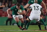Prop Tadhg Furlong puts his head down and carries towards Springbok centre Lionel Mapoe Credit: ©INPHO/Billy Stickland