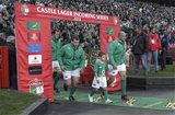 Ireland captain Rory Best leads out the team with the mascot at Emirates Airline Park Credit: ©INPHO/Billy Stickland