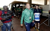 Ireland captain Rory Best leads his team-mates off the bus and into the Port Elizabeth stadium Credit: ©INPHO/Billy Stickland