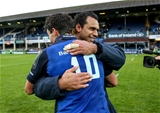 Leinster captain Isa Nacewa congratulates young number 10 Joey Carbery on a job well done Credit:  ©INPHO/Gary Carr