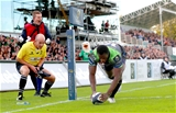 In-form winger Niyi Adeolokun touches down in the right corner after a stunning attack from Connacht that began inside their own half Credit: ©INPHO/James Crombie