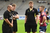 Bordeaux-Begles' Irish out-half Ian Madigan has a pre-match catch-up with some of his international team-mates, Ulster's Rory Best, Andrew Trimble and Iain Henderson Credit: ©SPORTSFILE/Ramsey Cardy