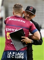 Ulster director of rugby Les Kiss embraces Ian Madigan of Bordeaux-Begles ahead of the sides' European Champions Cup opener Credit: ©SPORTSFILE/Ramsey Cardy