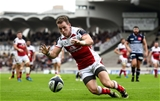 Ulster winger Craig Gilroy grounds the ball for a try which was subsequently disallowed at Stade Chaban-Delmas Credit: ©SPORTSFILE/Ramsey Cardy