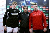 Munster captain Peter O'Mahony joined Glasgow's Jonny Gray and match referee Jérôme Garcès for the coin toss Credit: ©INPHO/Ryan Byrne