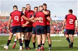 Try scorer Rory Scannell is congratulated by his Munster team-mates at Thomond Park Credit: ©INPHO/Dan Sheridan