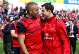 Simon Zebo and Munster technical coach Felix Jones can afford a smile after the province's five-try triumph over Glasgow Credit: ©INPHO/Tommy Dickson