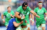 Connacht skipper John Muldoon makes the hard yards under pressure from Ian Nagle, Leinster's Cork-born lock Credit: ©INPHO/James Crombie