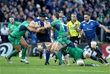 Leinster's returning flanker Sean O'Brien tries to find a way past Connacht defenders Dave Heffernan and Craig Ronaldson Credit: ©INPHO/Dan Sheridan