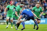 Leinster's man-of-the-match Dan Leavy is well positioned to tackle onrushing Connacht second row Andrew Browne Credit: ©INPHO/James Crombie