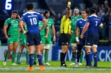 Referee John Lacey shows his yellow card to Leinster flanker Sean O'Brien whose shoulder had met the head of Peter Robb at a ruck Credit: ©INPHO/James Crombie