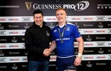 Leinster's workhorse flanker Dan Leavy is presented with the man-of-the-match award by Padraig Fox of Diageo Credit: ©INPHO/James Crombie