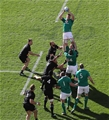 Flanker Jordi Murphy wins a lineout for Ireland during the opening minutes of the match Credit: ©INPHO/Billy Stickland