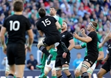 Ireland full-back Rob Kearney competes for a high ball with his opposite number, New Zealand's Ben Smith Credit: ©INPHO/Dan Sheridan
