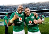 Try scorer Simon Zebo and Cian Healy, who came on in the second half, savour a famous victory Credit: ©INPHO/Billy Stickland