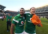 Leinster duo and long-serving internationals Rob Kearney and Jamie Heaslip celebrate the historic result for Irish Rugby Credit: ©INPHO/Billy Stickland