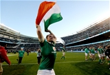 Naas man Jamie Heaslip, who provided the assist for Robbie Henshaw's decisive try, celebrates with the tricolour Credit: ©INPHO/Dan Sheridan