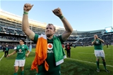 A tricolour-clad Jamie Heaslip thanks the Ireland fans for their support in Chicago Credit: ©INPHO/Dan Sheridan